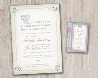 Baby Shower Invitation | Book Baby Shower, Build a Library Shower, Storybook Baby Shower | Printable