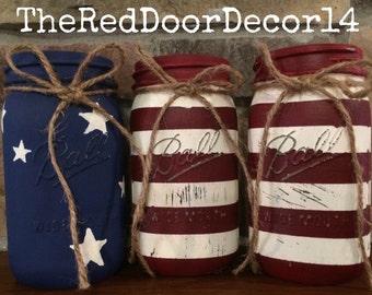American Flag Quart Mason Jars