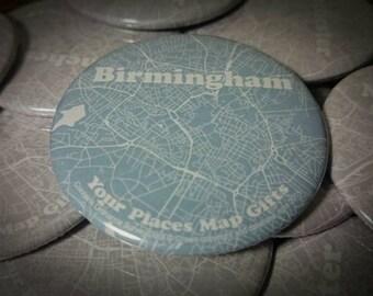 The Birmingham Badge - A unique 58mm badge showing the streets of Birmingham city centre