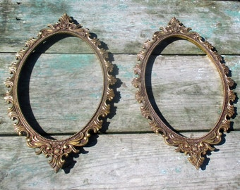 Couple Pair Beautiful vintage Brass Picture Frames Ornate Italian