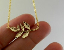 Gold Branch Necklace , Gold Leaf Necklace ,  Gold Dainty Necklace , Nature jewwelry , Romantic necklace