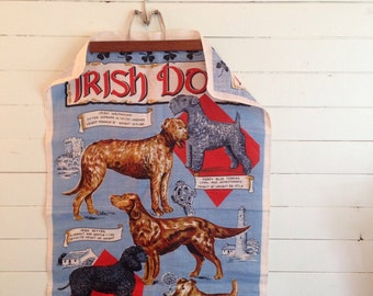 Vintage Irish dogs linen teatowel