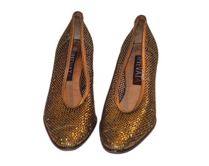 Prevata Vintage Estate Gold Bronze Mesh Heels Size 7