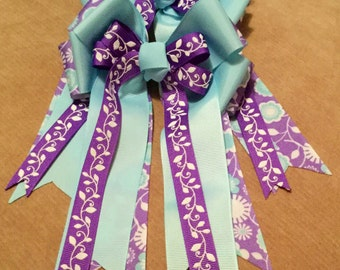 Purple Horse Show Bows, Turquoise Equestrian Bows, Competition Horse Bows, Turquoise Show Bows, Equestrian Show Bows, Set Of 2 Braid Bows