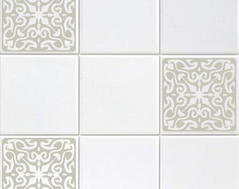Set Of Six 6 Vinyl Tile Decals Ornate Designs Kitchen Bathroom Backsplash Accent