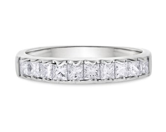 0.70 CT Natural Diamond Princess Cut Wedding Band in Solid 14k White Gold