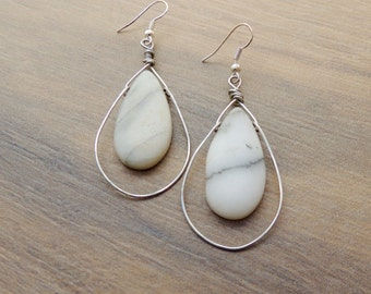 Boho Drop Earrings: Creamy Serpentine and Hammered Silver Wire