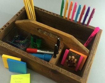 SUMMER SALE!! Vintage Wooden Toolbox, Reclaimed Wood, Desk Organizer, Kitchen Caddy