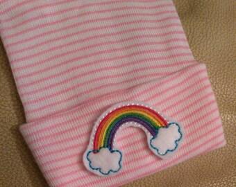 Newborn Hospital Hat. RAINBOW! Newborn Hospital Beanie.  1st Keepsake. New Baby Great Gift!