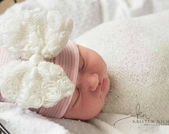 Newborn Hospital Hat with Pink Rosette Bow. Beautiful Bow for a Beautiful Baby! You will Love this! Perfect Gift! Baby 1st Keepsake!