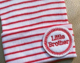 A Best Seller! Newborn Hospital Hat. Now w/White/ Red and Red Little Brother Applique.  Every New Baby Boy Should