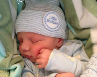 A Best Seller! Newborn Hospital Hat. Baby Boy Little Brother. Newborn Beanie. Every New Baby Boy Should Have! Adorable!