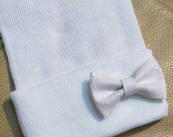 Newborn Hospital Hat. White with White Shimmer Bow. Baby Beanie. 1st Keepsake! Newborn Beanies. Great Gift!