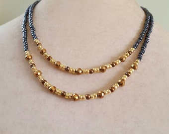 Multi Color Seed Bead Necklace, Layered Necklace, Multi-Strand Necklace