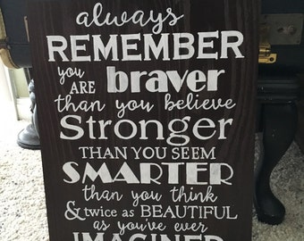 """Reclaimed Wood """"Always Remember"""" Sign"""