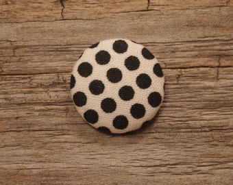 White with black polka dot  fabric covered buttons (size 60, 40, 32, 20, or 18)