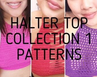 Halter Top Collection 1 Patterns | crochet pattern | crochet crop top | digital crochet pattern | picture tutorial | instant PDF downloads