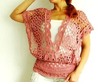 FREE SHIPPING, crochet top, lace top, crochet lace, summer tank, knit top, mesh tank, silk top, top, crochet tank, Medium, ready to ship