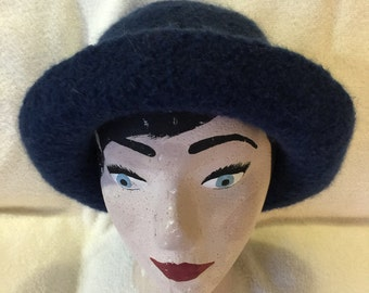 Womens dark blue wool felted hat