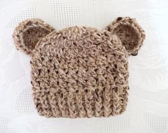 Sale! Newborn bear hat Wool baby hat Newborn winter hat Baby bear hat Bear beanie Baby boy hat Winter baby hat Baby hat with ears