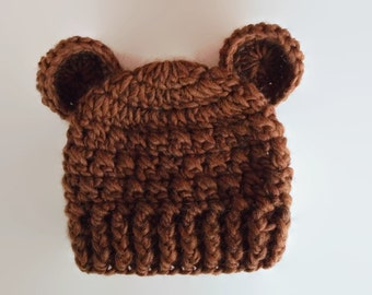 Newborn bear hat, baby hat with ears, animal baby hat, baby bear hat, Teddy bear hat, bear beanie, baby bear outfit, crochet baby hat
