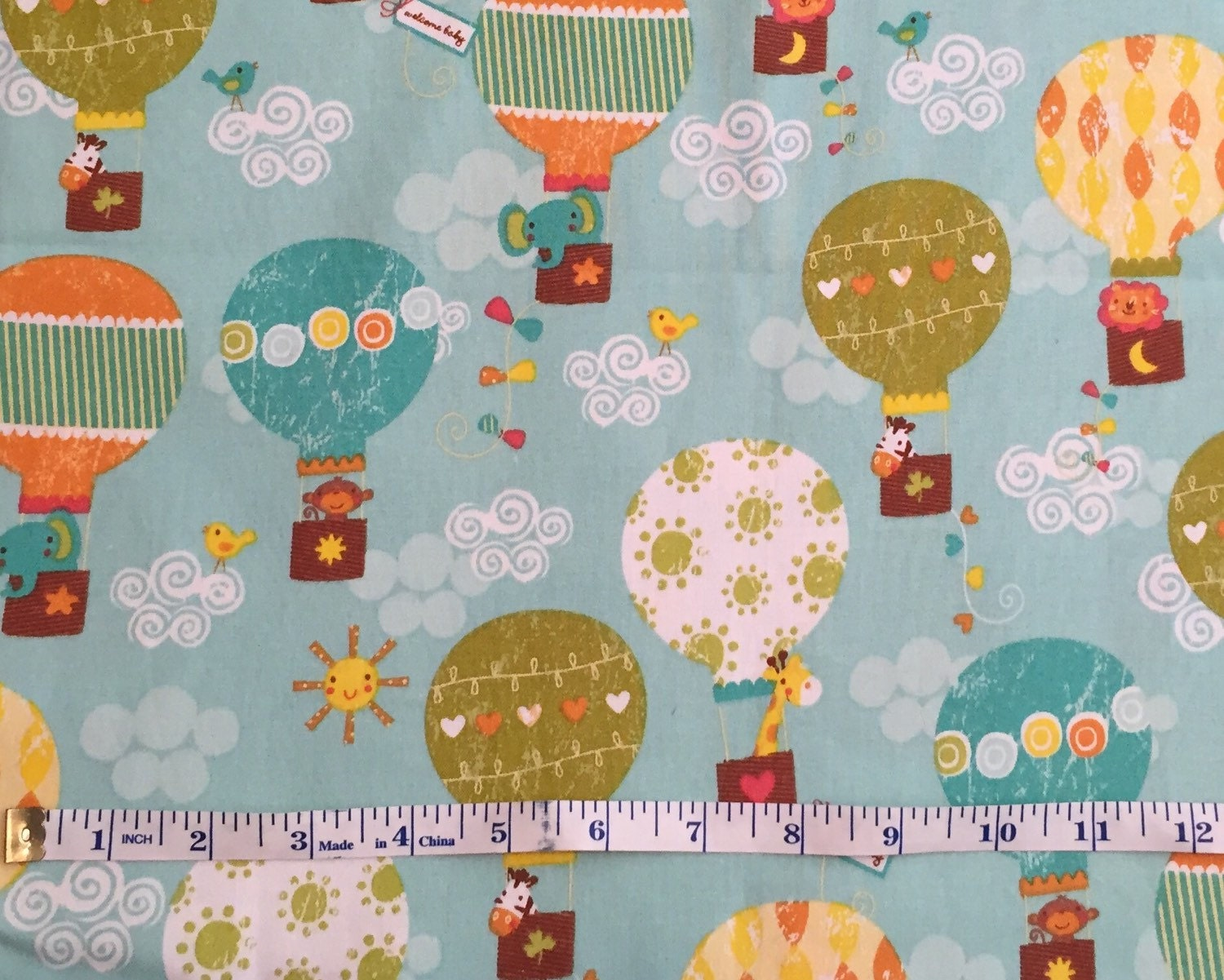 Nursery animal cotton quilting fabric hot air balloon cotton for Nursery monkey fabric