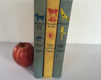 Set of 3 Vintage Junior Deluxe Editions Hardback Childrens Books-Treasure Island, Freckles, and Penrod and Sam