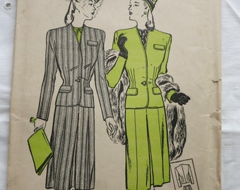 40s/50s Suit Pattern Butterick 3518 Size 14 Bust 32 Vintage Sewing Pattern