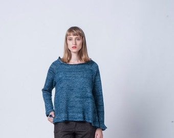 Christmas  in July On Sale, Day Sale, Blue Women Top, Blue Women Sweater, Oversize Top, Long Sleeves Blue Shirt, Knitted Top