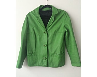 Vintage / Green / Leather / Jacket / 3-Button