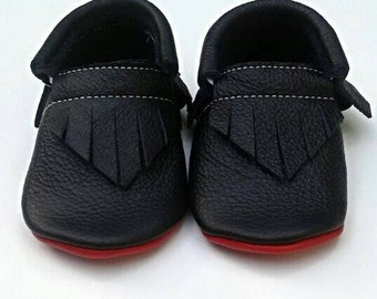All Black, Red Bottoms baby and toddler moccassins