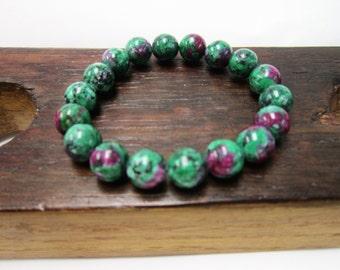 Ruby in Zoisite Gemstone Bracelet Anyolite Ruby in Zoisite Bracelet Healing Bracelet Ruby in Zoisite Detoxification Regeneration Anyolite