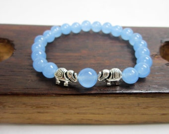 Aquamarine Elephant Bracelet Throat Third Chakra Elephant Bracelet Healing Aquamarine Yoga Bracelet Good Luck Bracelet Aquamarine Elephant