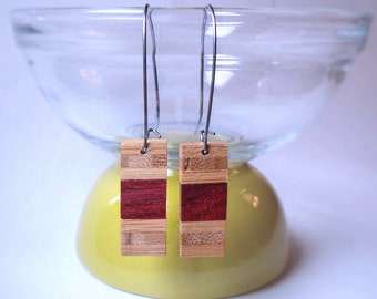 Dangling earrings | Exotic upcycled wood | Padook and bamboo, stainless steel ties | Original jewelry by RecupRetro
