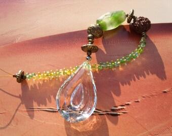 SUNCATCHER Indian Bindi old Microreaction and Rudraksh bead Farfalle brass Sun games