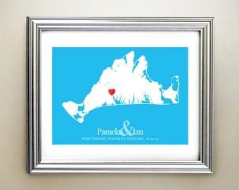 Martha's Vineyard Custom Horizontal Heart Map Art - Personalized names, wedding gift, engagement, anniversary date