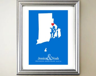Rhode Island Custom Vertical Heart Map Art - Personalized names, wedding gift, engagement, anniversary date