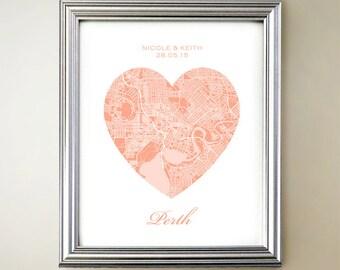 Perth Heart Map Print