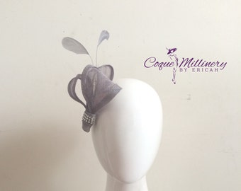 Women's Grey Fascinator | Straw | Bridesmaids | Weddings