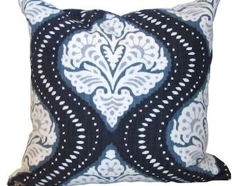 "Decorative Pillow Cover, Robert Allen Dwell Studio  20"" Kavali Ogee Midnight Blue, same fabric both sides"
