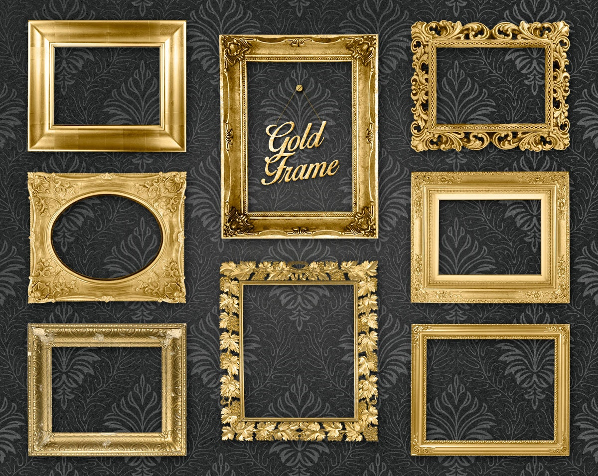 gold picture frame clip art clipart gold frames digital gold frames ornate picture frames. Black Bedroom Furniture Sets. Home Design Ideas