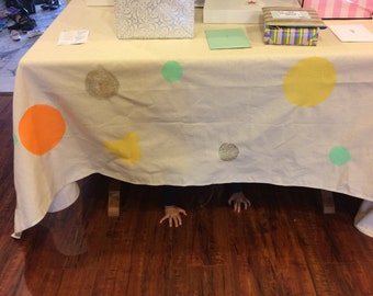 Table Cloth!  Polka dot table cloth made of durable canvas to match your tee pee themed party!