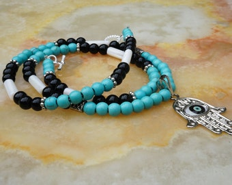 Howlite Turquoise Necklace, Onyx Necklace, Blue Necklace, Mens Jewelry,Mens Beaded Necklace,Tribal Boho, Turquoise Necklace,Hamsa Hand Charm