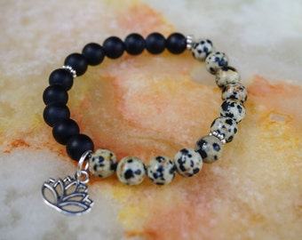 Mens Bracelet,Mens Jewelry,Onyx Bracelet,Mens Bracelet,Gift for Him,Lotus Bracelet,Black Bracelet,Dalmatian Jasper Bracelet