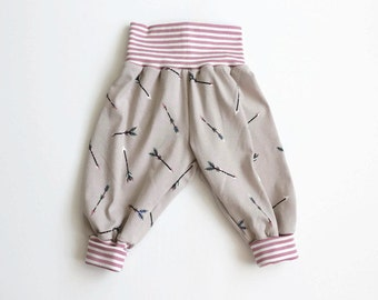 Harem pants in taupe with arrows. Comfy slouchy infant pants with pink striped fold over waistband and cuffs. Baby or toddler pants. Girls