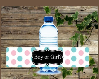 Teal and Pink Baby Shower Water Bottle Label / DIY Instant Download / Gender Reveal Boy or Girl Printable Water Bottle Label