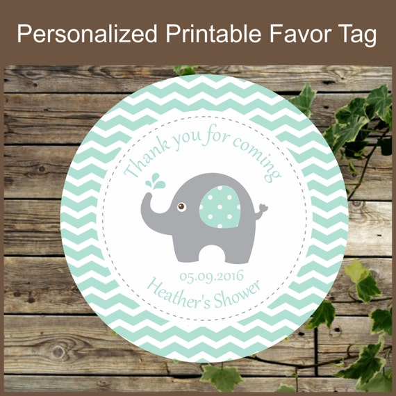 Baby Shower Stickers For Favors: Elephant Favor Tag / Personalized Sticker For Baby Shower
