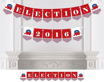 Election - Political Party (R) - Bunting Banner - Personalized Election Party Decorations