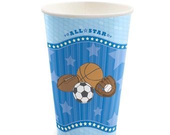 8 Count - All Star Sports - Hot/Cold Cups - Baby Shower or Birthday Party Supplies