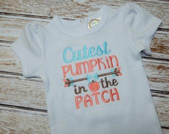 Baby Girl Fall shirt;  Girl's Fall bodysuit;  Pumpkin shirt